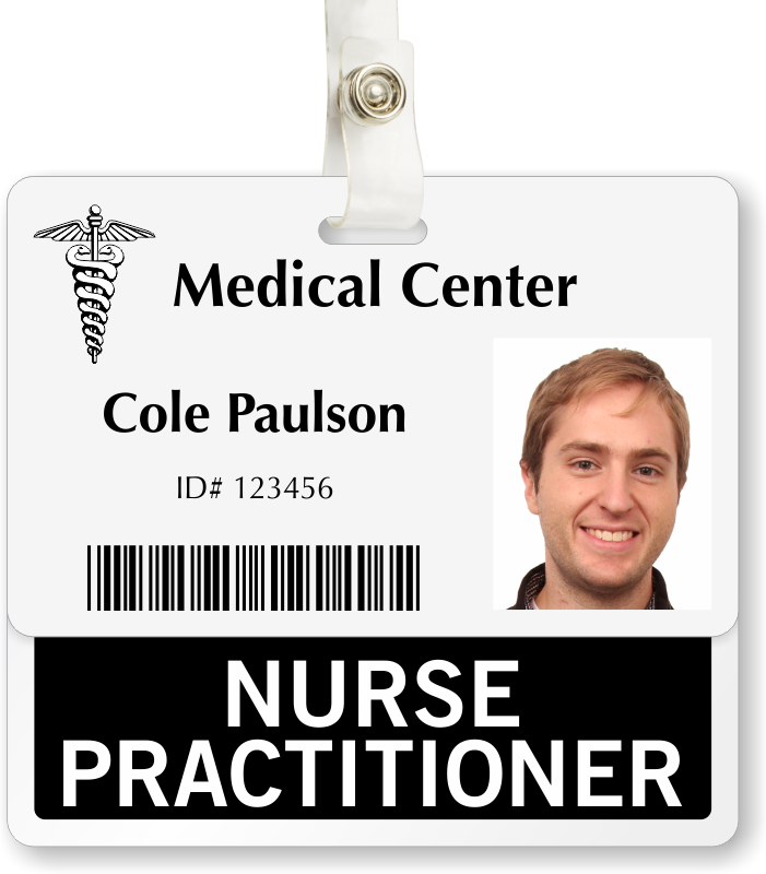 Nurse practitioner badge buddy for horizontal id cards for Hospital id badge template
