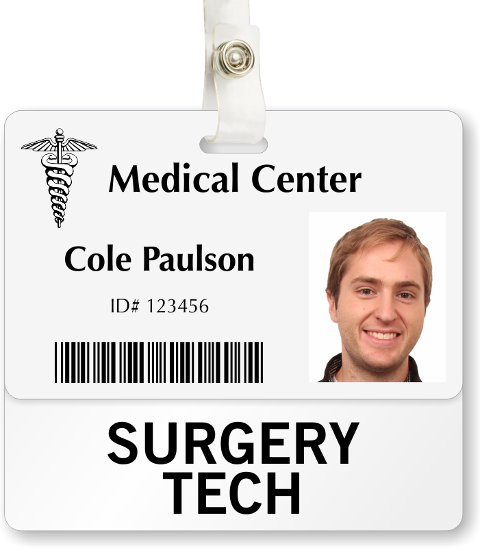 Surgery tech badge buddy for horizontal id cards sku bd for Badge buddy template