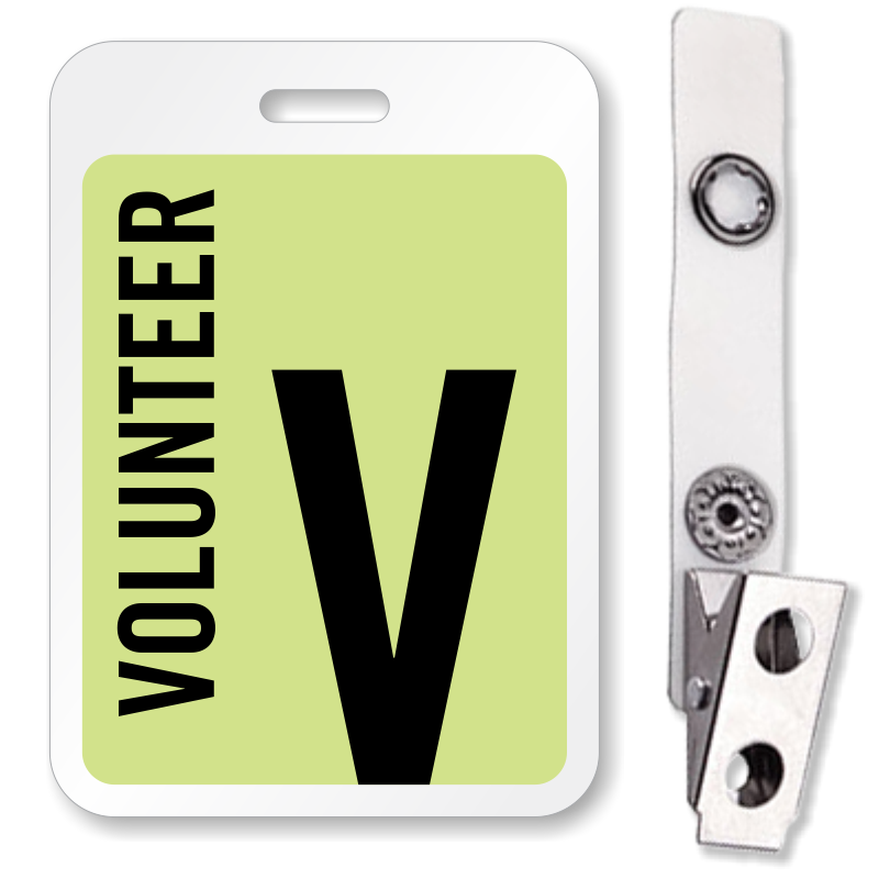 Volunteer Reusable Id Name Badge